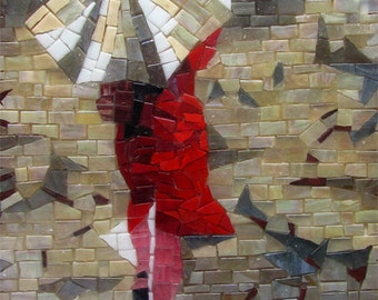 Handcuted glass mosaic picture 'Women in red'