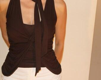 Vintage KOOKAI tank, Brown collar V neck summer shirt, Size M