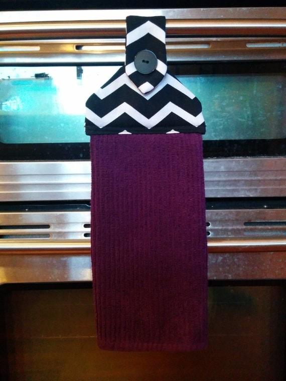 Hanging Kitchen Towel Purple Black And White Chevron