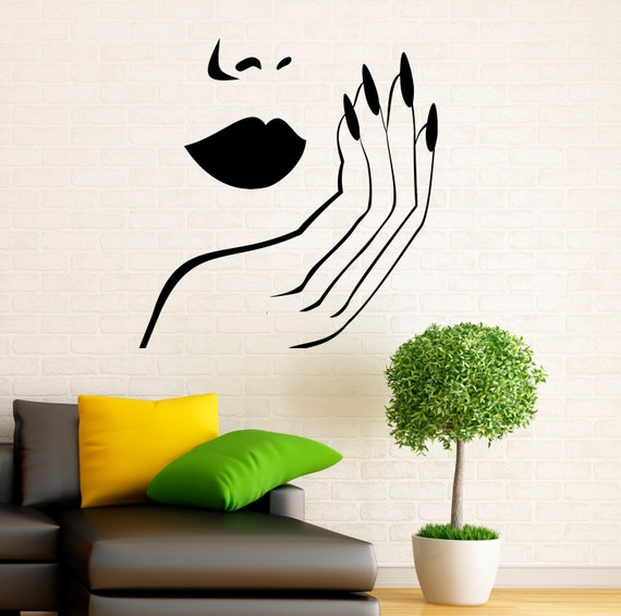 Manicure wall decal vinyl stickers girl hands nails interior for Diseno de paredes con cuadros
