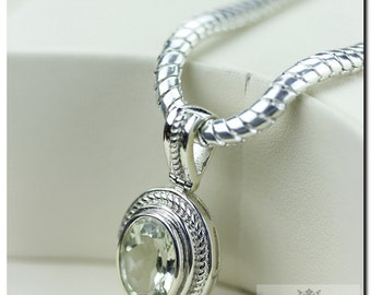 Prasiolite Green Amethyst Italian Made 925 SOLID Sterling Silver Pendant & 4mm Snake Chain + FREE Worldwide Shipping