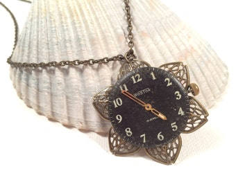 Steampunk Watch Necklace - Vintage Watch Face - Altered Art - Recycled Upcycled Repuposed