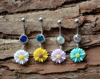 Silvery Resin flower belly button ring, Navel Piercing, belly rings, yellow daisy Dangle Belly Ring , Belly Button Piercing, Belly jewelry