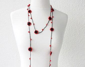Crochet Jewelry, Beaded Necklace, Hand Crocheted Lariat Necklace, Crochet Flower Necklace