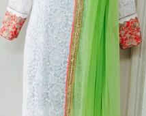 Designer chikankari tri-color salwar kameez