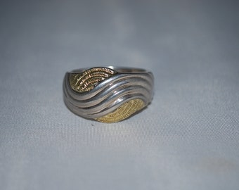 Sterling silver and gold ring size 9.5