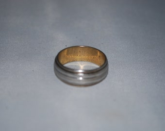 sterling silver and gold ring size 7.75