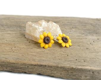 Sunflower earrings Flower earrings Yellow earrings Sunflower jewelry Flower jewelry gift Sunflower wedding Womens gift Bridesmaid earrings