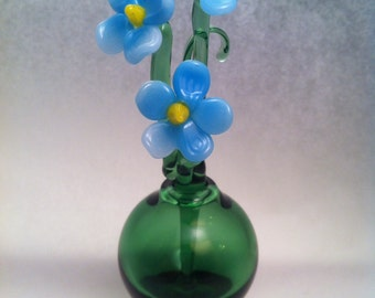 Glass Perfume Bottle with Forget Me Not Stem