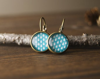 Earrings, dangle earrings, drop pattern, rain, blue, glass dome