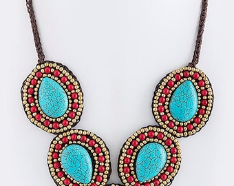 Turquoise Round Beaded Tribal Necklace