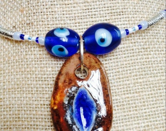Memory Wire Necklace with Handmade Ceramic & Glass Pendant