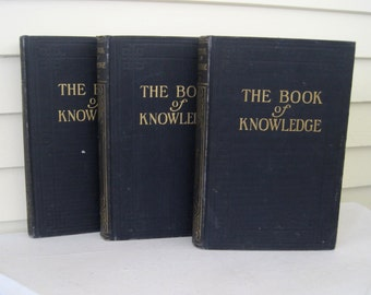 Grolier 1926 The Book of Knowledge Set of 3 Children's Encyclopedia Books Vol. 12 - 14, Vintage Books