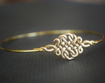 Gold Celtic Knot Bangle- Gold Bangle Bracelet- Knot Bangle- Bridesmaids Jewelry Gifts- Love Bangle- Stacked Bangles- Initial