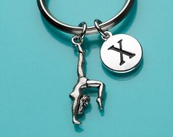 Gymnast Keychain, Gymnast Key Ring, Exercise Keychain, Initial Keychain, Personalized Keychain, Custom Keychain, Charm Keychain, 435