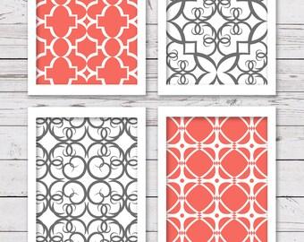 Printable Art Set, Coral and Gray Art, Printable Art, Bedroom Art, INSTANT DOWNLOAD, Printable Wall Art, Home Decor, Wall Decor
