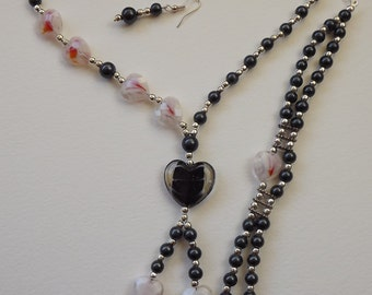 Romantic Gothic Black and White Heart Jewellery Set