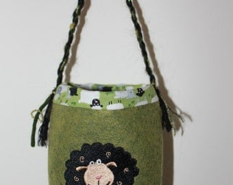 "SPINNING BAG Featured in ""Spin-Off"" magazine. Hangs on wheel Lovely handcrafted embroidered wool felt bag to hold fiber rolag tools oil hook"