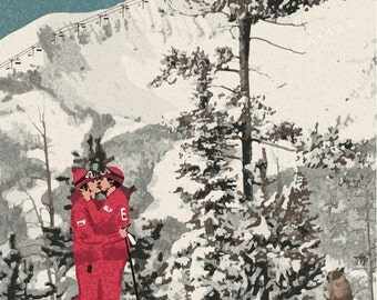 Limited Edition Vintage French Resort Style ESF Ski Print. Signed & Numbered Poster. Size A2.