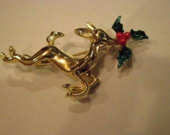 Gold-tone Reindeer Brooch