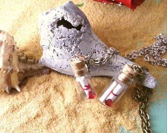 SALE- CUSTOM MESSAGE in a bottle, Message, Cork Bottle, Vial Necklace, personalized message necklace, Womans Gift, Wedding, Birthday, Bottle