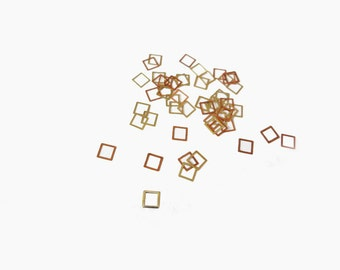 3mm Gold Hollow Square, Nail Art Decals