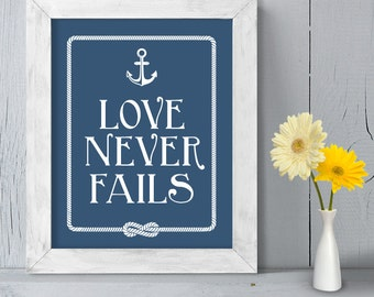 Romantic Ceremony Poster DIY Printable // Nautical Wedding Sign // Anchor & Rope Infinity Knot // Love Never Fails ▷ Instant Download
