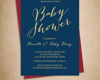 Elegant Baby Shower Invitation DIY / Gold Calligraphy on Navy Printable PDF / Navy and Gold / Modern Calligraphy ▷ Baby Invite Printable PDF