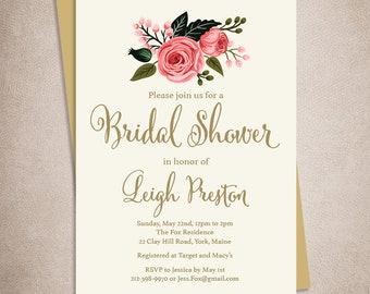 Floral Bridal Shower Invitation / Watercolor Rose Flower / Gold Calligraphy, Pink Rose on Cream  ▷ Printed Heavy Paper {or} Printable