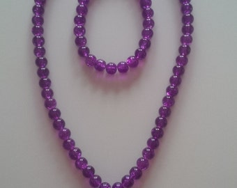 Purple Beaded Necklace & Bracelet Set  (#68)