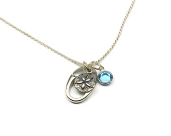 Sand Dollar Ring Holder Necklace, Sterling Silver Ring Holding Necklace