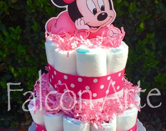 Baby Minnie Mouse Diaper Cake Centerpiece 2 Tier Cake for Baby Shower or any Baby Event