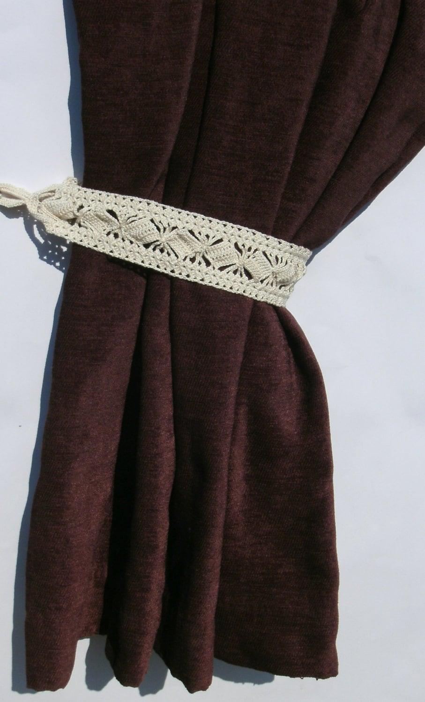 Crochet Curtain Tiebacks Curtain Tie Backs Curtain Ties Beige