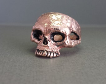 14K Rose Gold Skull Ring With Hammered Finish