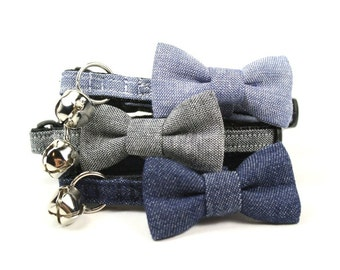 Preppy Denim Cat Bow Tie Collar Blue Grey Chambray Cat Bow Tie Collar Breakaway Safety with Bell