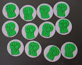 "hulk cupcake toppers 12pcs 2.5"" edible fondant cupcake toppers fondant topper party favors superhero theme party decorations"