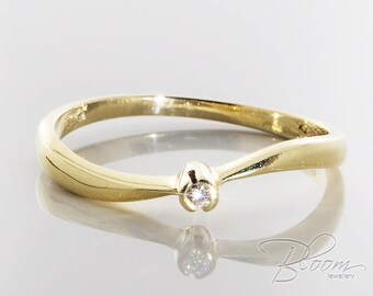 Bezel Engagement Ring Natural Diamond Ring Tiny Engagement Ring Delicate Diamond Ring Minimalist Gold Ring Bezel Diamond Ring BloomDiamonds