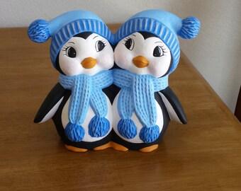 Ceramic Penguin Couple