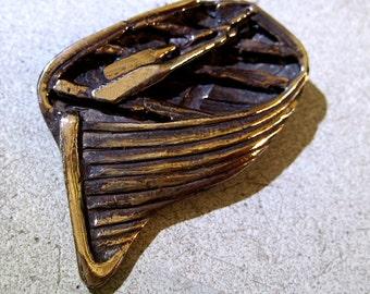 Row Boat Brooch- bronze