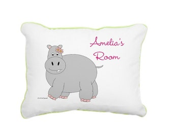 Hippo Pillow for Girls. Personalized