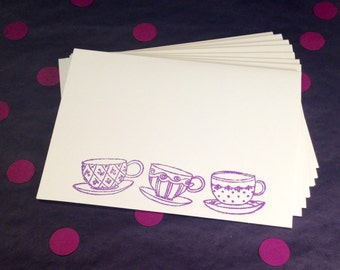 Tea Cup Folded Note Cards and Envelopes - Purple and White - Set of 8