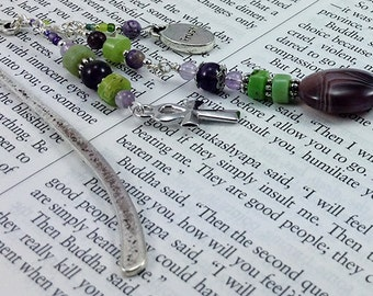 Green and Purple Ankh beaded bookmark shepard hook bookmark