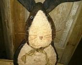 Primitive Rabbit Easter Hafair FAAP Fuzzy Easter basket cloth doll