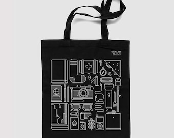 Adventure - Shopping Bag - Screen Printed Black Cotton Tote Bag