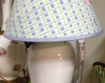 White lamp with baby shade