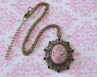 Sale - Cameo Necklace, Medium Lady Cameo Pendant, Bronze Base, Lily Flowers, Bronze Chain, pink, on sale