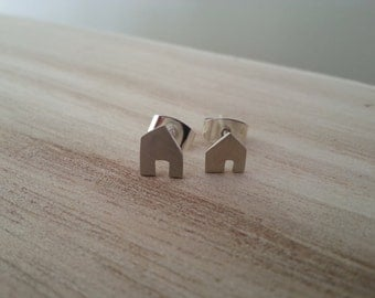 Tiny House Silver Stud Earrings