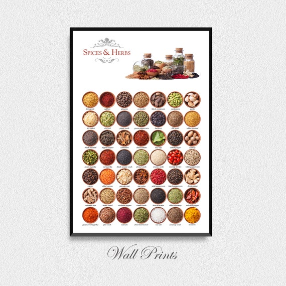 Spices And Herbs Art Print Kitchen Poster Wall By