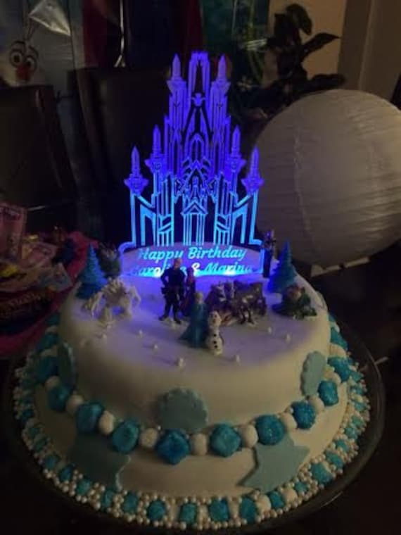 wedding cake lights frozen castle inspired cake topper personalized with led 23086