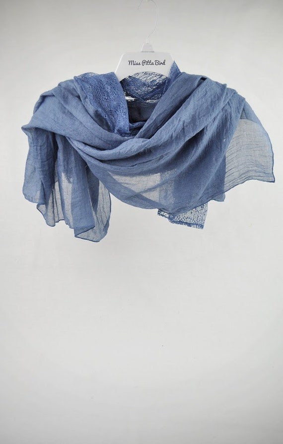 blue scarf with lace floral scarf nautical scarf